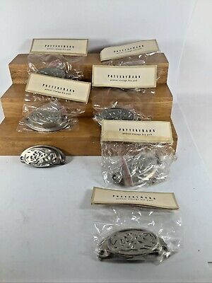 $56.31 • Buy NOS Lot Of 7 Pottery Barn Pewter Vintage Bin Pull Drawer Pulls 6 NEW / 1 OPEN