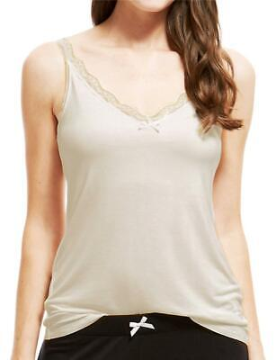FaMouS Store Cream Lace Trim Secret Support Vest Cami In Size 12 • 2.99£