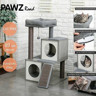 AU115.50 • Buy Multi-Level Cat Tree Scratching Post Tower Condo House  Wooden Furniture Cat Bed