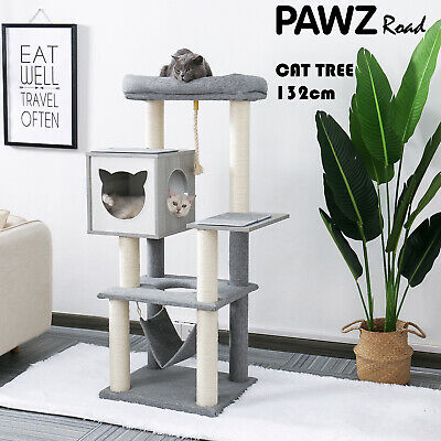 AU149.90 • Buy Cat Scratching Post Tree Trees Scratcher Tower Condo House Wood Furniture 132cm