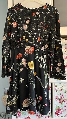 AU1.76 • Buy Warehouse Black Floral Dress Bell Sleeves Size 12