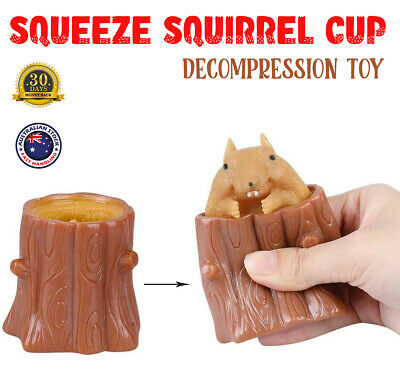 AU12.95 • Buy Evil Squirrel Cup Squeeze Fidget Toy Rubber Squishy Tree Stump Kids Funny Gifts
