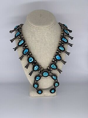 $ CDN1366.37 • Buy Native American Navajo Vintage Squash Blossom Sterling Silver Turquoise Necklace