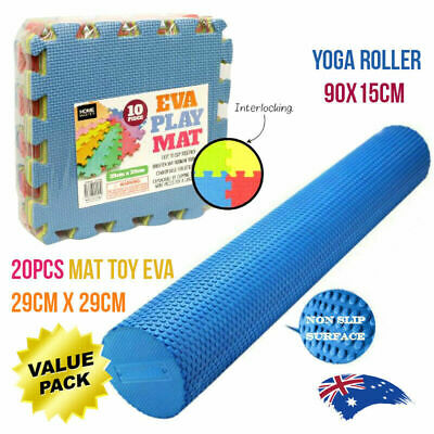 AU40.68 • Buy EVA PHYSIO FOAM AB ROLLER YOGA PILATES & EVA Toy Matt Gym Fitness Yoga Combo Set