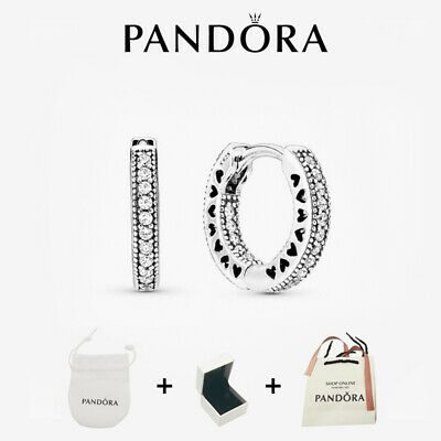 AU22.95 • Buy Genuine Pandora Hoop Earrings Stub 925 Sterling Silver Xmas Gift Box - 296317CZ
