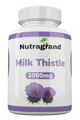 £9.99 • Buy Milk Thistle 2000mg, Liver Detox, 6 Month To 1 Year Supply Best Value UK Made