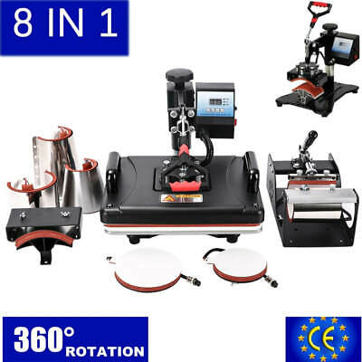 AU438.64 • Buy 8 In 1 Combo Heat Press Machine Sublimation Heat Transfer Printer For Mug Cap