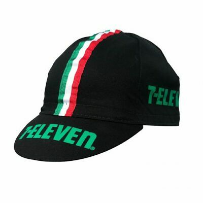AU7.11 • Buy 7 Eleven Retro Vintage Cycling Team Under Helmet Made Italy Bike Hat Cap - Black