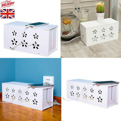 White Cable Storage Tidy Box Case Wire Cable Management Socket Safety Storage • 9.86£