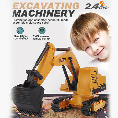 Remote Control Digger Toys For Kids - RC Excavator Tractor Construction Vehicle • 14.88£