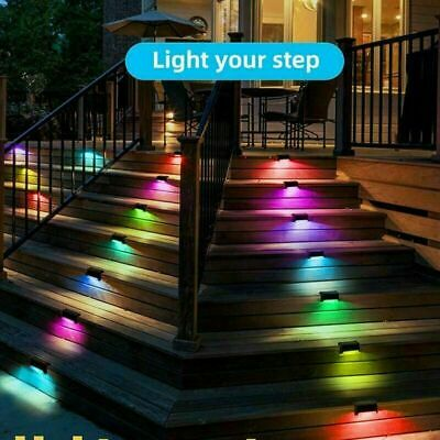 £7.95 • Buy 4/8Pcs LED Solar Powered Fence Wall Lights Step Path Decking Garden Lamps Safe