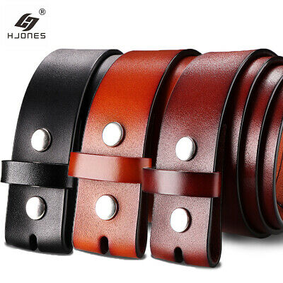 £8.49 • Buy 38mm Mens Leather Belt Black Genuine Leather Strap For Pin Buckle Without Buckle