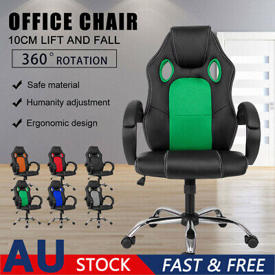AU117.84 • Buy Durable Gaming Office Chair Racing Executive Footrest Computer Seat PU Leather