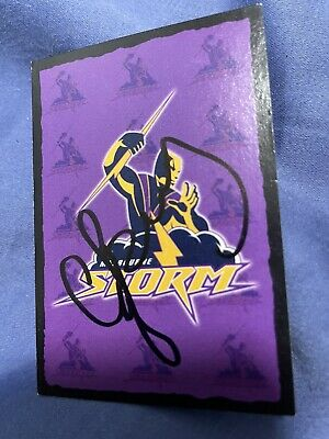 AU10 • Buy Signed Craig Bellamy Melbourne Storm Logo Card 2004 NRL Rugby League 2021