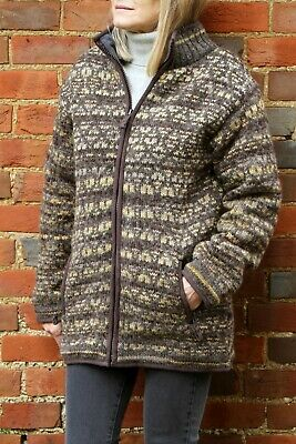 Pachamama Burghley Hand Knitted Wool Jacket, Handmade In Nepal, Patterned Jumper • 39.95£