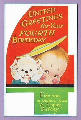 £2.95 • Buy [0584] Artist Postcard By Mabel Lucie Atwell  Greetings Fourth Birthday