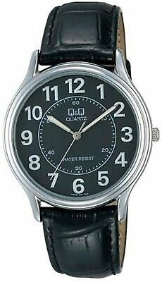 $ CDN3.41 • Buy Citizen Q&q $115 Mens Classic Silver, Black Dial Leather Strap Watch Big Numbers
