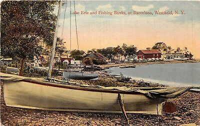 AU10.20 • Buy H77/ Westfield New York Postcard C1910 Lake Erie Fishing Banks Boats Home71
