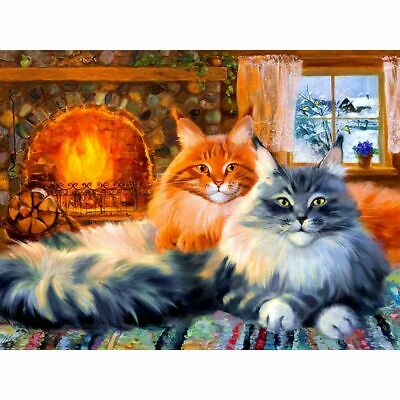 AU12.24 • Buy Diamond Painting Cats Portrait Lovely Fireplace Design Embroidery House Displays