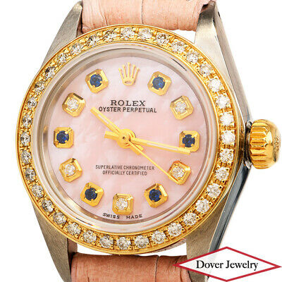 AU1313.67 • Buy ROLEX Oyster Perpetual Diamond Sapphire Gold Stainless Steel Ladies Watch NR
