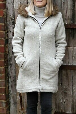 Pachamama Womens Wool Coat Parka Hand Knitted, Faux Fur Trim - Handmade In Nepal • 39.95£