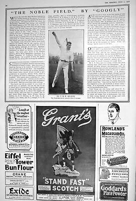 Antique Print 1922 Mr Brown Cambridge Bowler Cricket Grant'S Scotch Whisky 20th • 16£