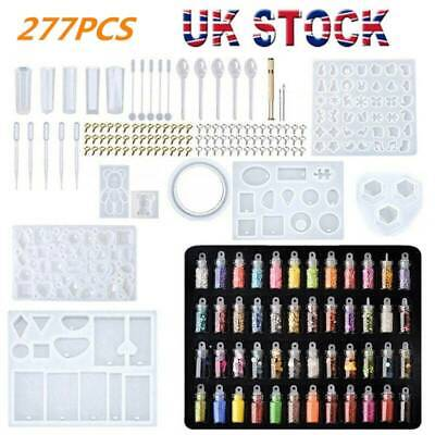 £7.59 • Buy 277PCS Resin Casting Molds Silicone DIY Jewelry Pendant Mould Kit Casting Craft