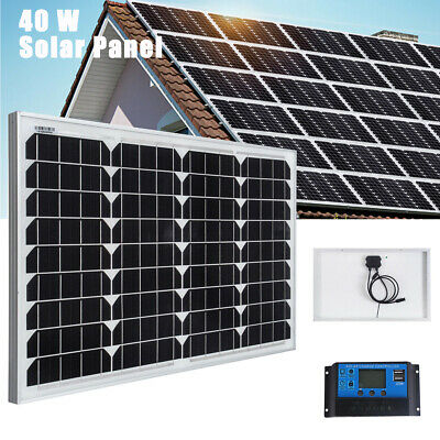£48.99 • Buy 40W Mono Solar Panel Kit 20A Controller 12V Volt Off Grid Battery Charger Power