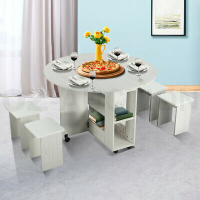 AU179.95 • Buy Dining Table And 4 Chairs Set Wooden Folding Round Kitchen Table With Wheels