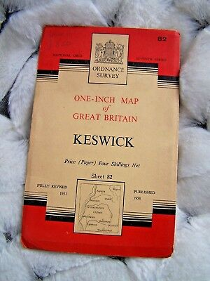 Map, Ordnance Survey, Keswick, Cumbria, Road Map, 1954, Vintage • 7.99£