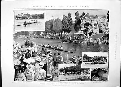Antique Old Print Henley Regatta Cricket Match Oxford Cambridge Lords 1901 20th • 20£