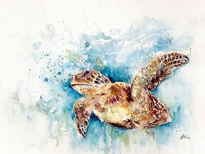 Gorgeous Signed Print From My Original Watercolour Contemporary SEA TURTLE A4 • 28£