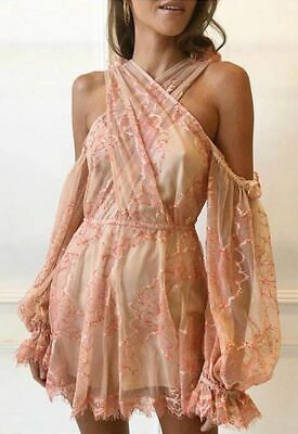 AU150 • Buy Alice McCall 'That's A Wrap' Lace Cross Over Playsuit Size 6 RRP $600
