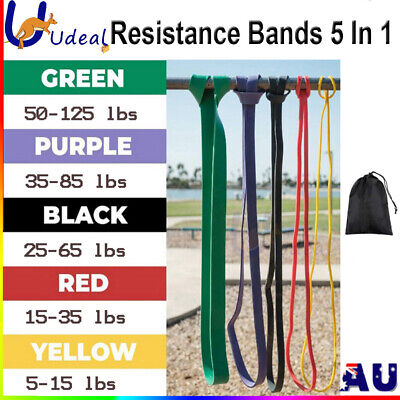 AU24.95 • Buy Set Of 5 Heavy Duty Resistance Yoga Bands Loop Exercise Fitness Workout Band Gym