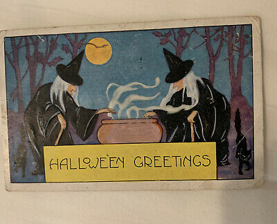 $ CDN8.92 • Buy Halloween Postcard Of Pair Black Witches Conjuring A Spell In Cauldron 1921