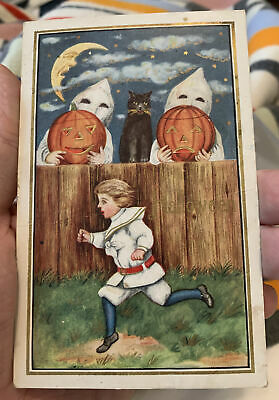 $ CDN6.65 • Buy Halloween Postcard Of Boy Running In Fright Past 2 Ghosts And A Cat 1913