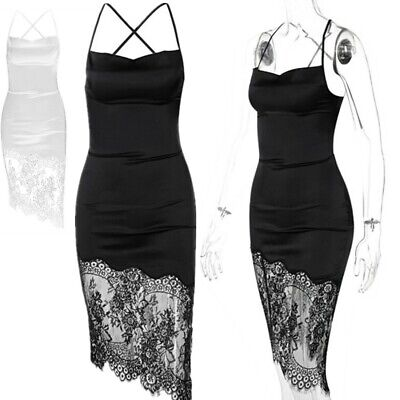 AU14.24 • Buy Women Lace-up Bodycon Dress Drawstring Ruched Skirts Cocktail Party Night Club