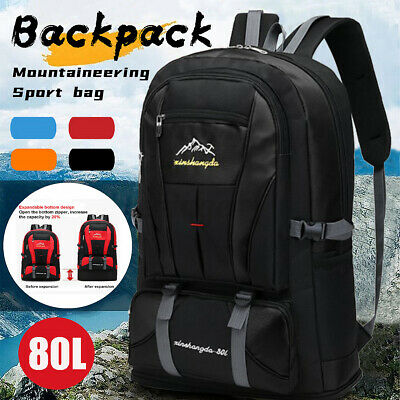 AU18.17 • Buy 80L Outdoor Travel Backpack Sports Bag Waterproof Hiking Luggage Rucksack Ba