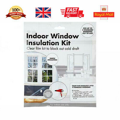 £3.35 • Buy Window Insulation Kit Draught Excluder Weather Shield Double Glazing Shrink Film