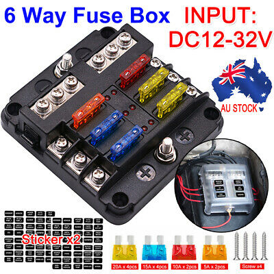 AU21.59 • Buy 6 Way Blade Fuse Block Box Holder LED Light Circuit Caravan Marine Car 12V 32V