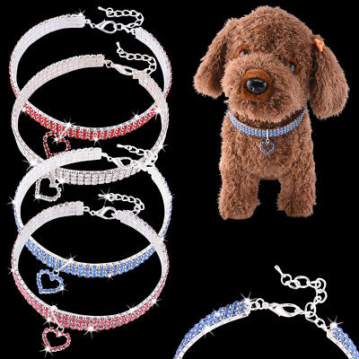 £4.50 • Buy Rhinestone Puppy Dog Collars Crystal Cat Necklace Charm Pendant For Dogs Cats