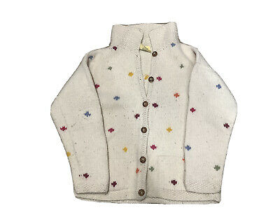 Pachamama Ladies Woolen Cardigan White With Coloured Spots Button Front S • 20£