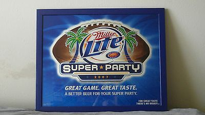 $100 • Buy Miller Lite 2007 Super Party Glass Mirror - Wood Frame 31  X 25  Colts Vs Bears