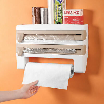 £9.29 • Buy 4 In 1 Kitchen Roll Dispenser Cling Film Tin Foil Wall Mounted Towel Holder Rack