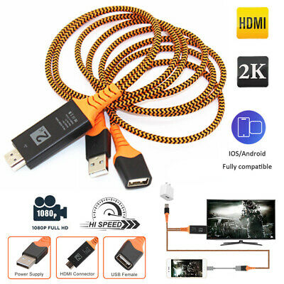 £4.80 • Buy 1080P HD HDMI Mirroring Cable Phone To TV HDTV Adapter For IPhone/ IPad/ Android