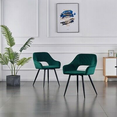 £104.99 • Buy 2PCS Green Velvet Dining Chairs Fabric Upholstered Seat Armchairs Metal Legs UK