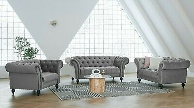 £499.99 • Buy Velvet Fabric Sofa Chesterfield Style Modern Couch Suite Set Luxury Curved Sofa