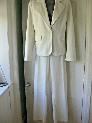 £45 • Buy WALLIS White 2 Pce Trouser Suit.  Sz 20UK.  Worn Once.  Wedding Outfit.
