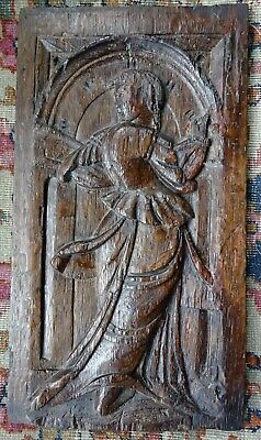 £225 • Buy Genuine 16th Century Carved Oak Panel Depicts Tudor Dancing Lady