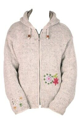 Pachamama Womens Wool Knitted Hoody Jumper, Handmade In Nepal, Embroidered • 39.95£
